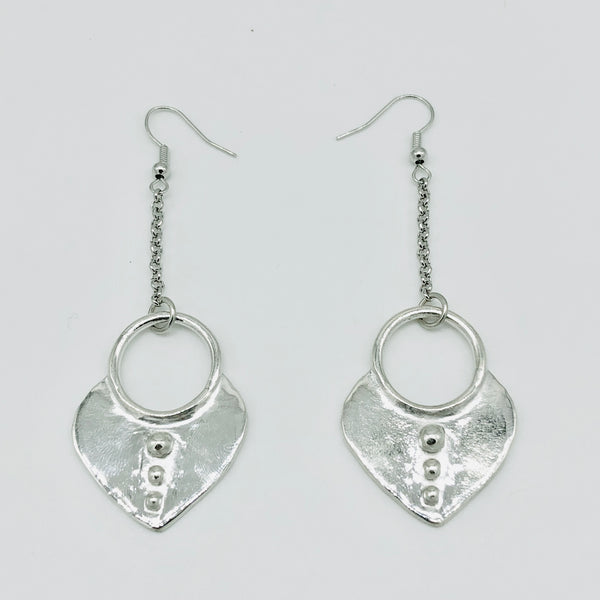 Full Heart Earrings Silver