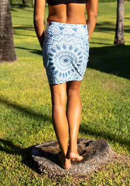 Blue Mandala Fitted Skirt