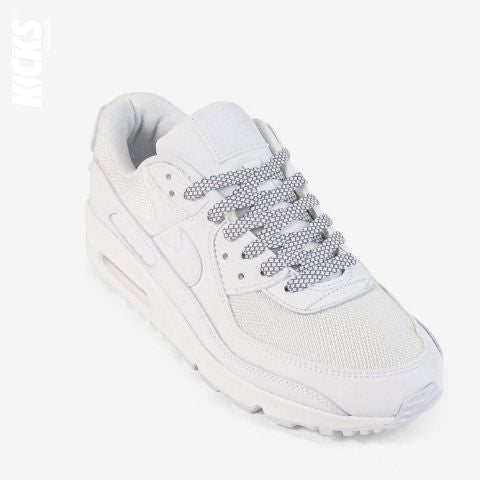 White Relfective Flat Shoelaces