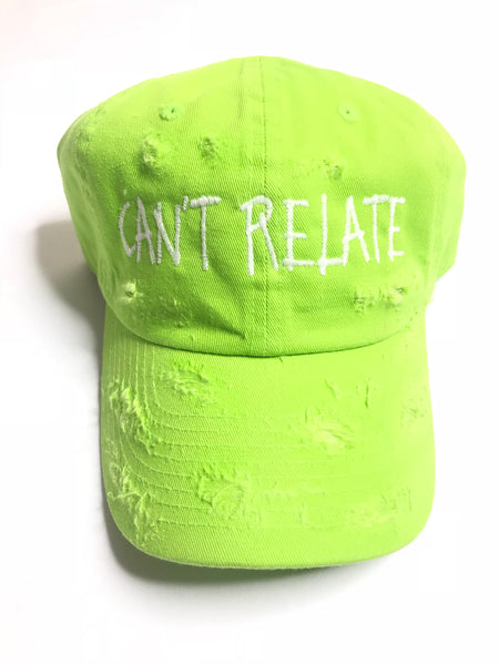 Can't relate distressed green dad hat