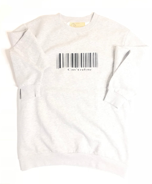 Grey can't relate barcode crewneck sweater