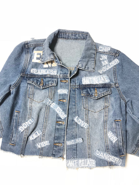 Cropped jean jacket women's
