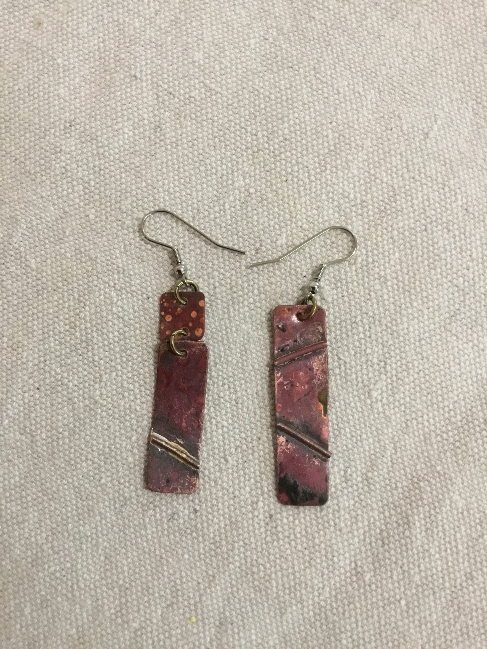 Asymmetrical Copper Earrings