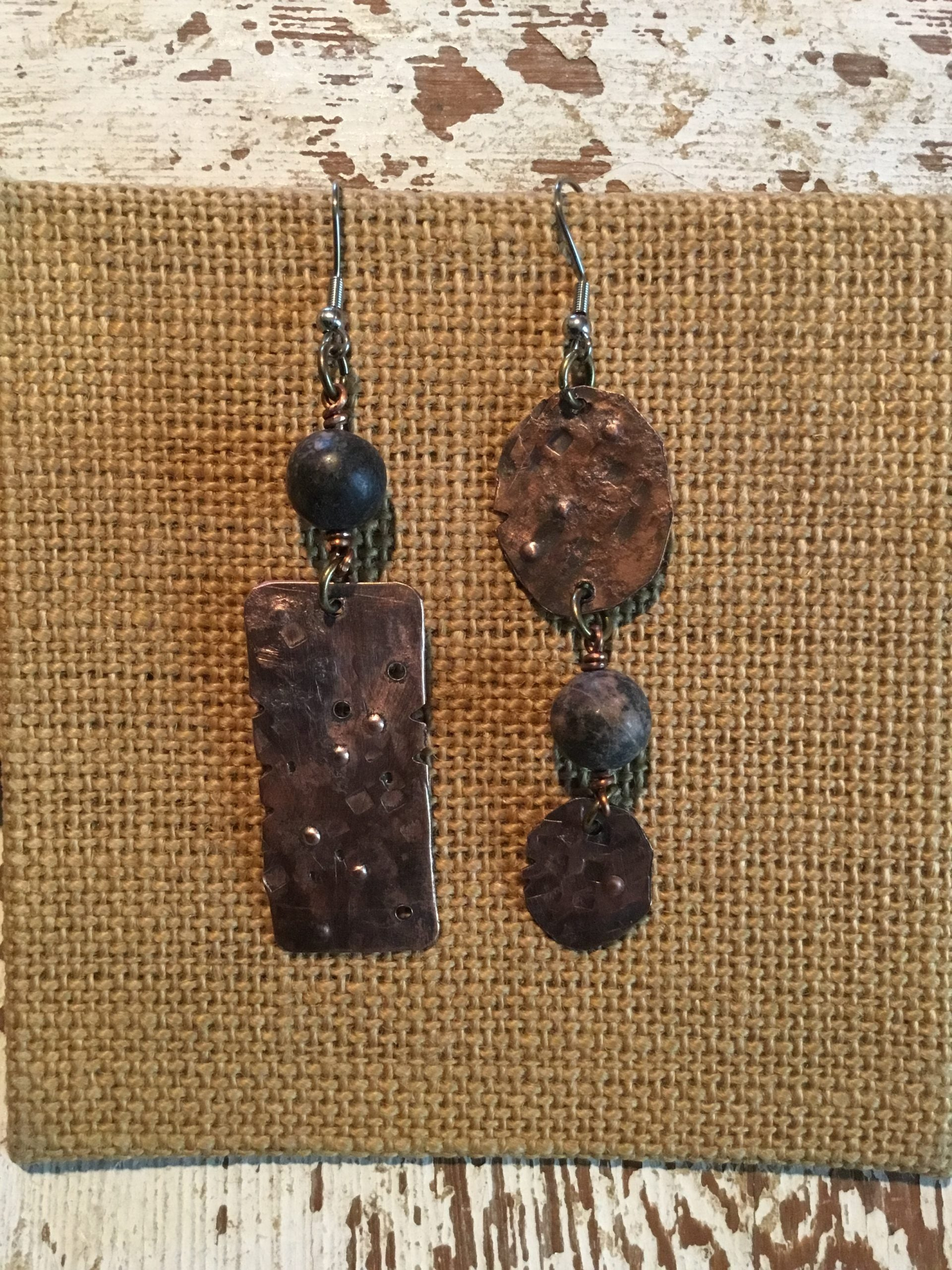 Gem stones and Copper Earrings