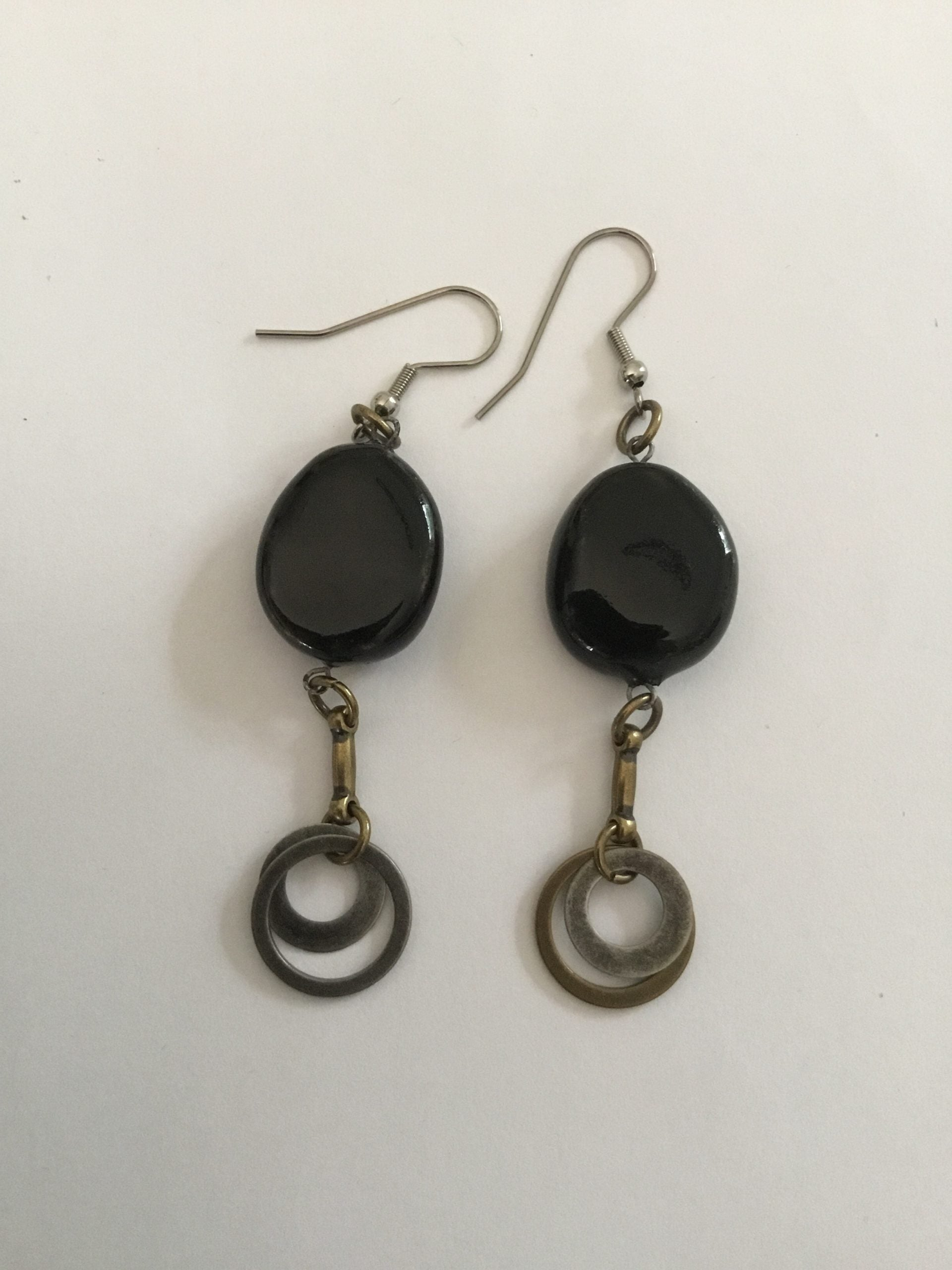 Pottery Black Earrings