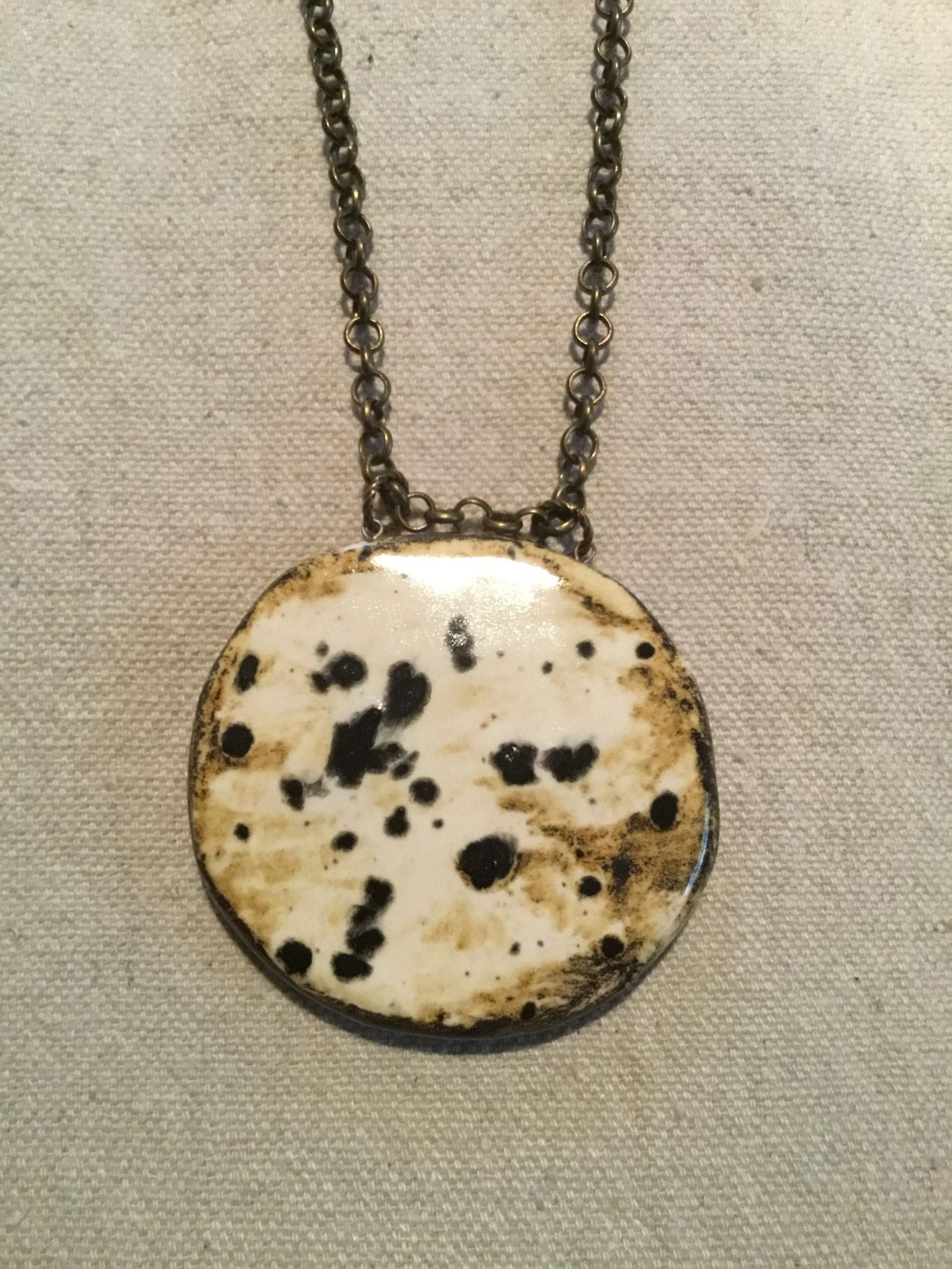Reversible Big and Bold Pottery Necklace Ink spots / Starry Night