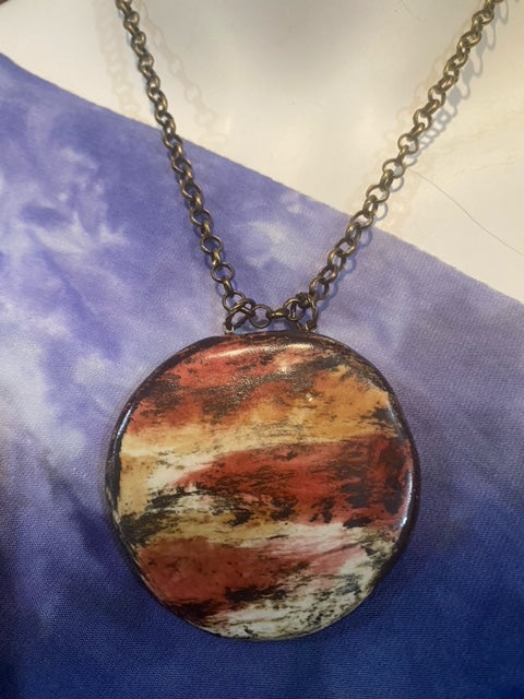 Reversible Big and Bold Pottery Necklace Turquiose / Arizona