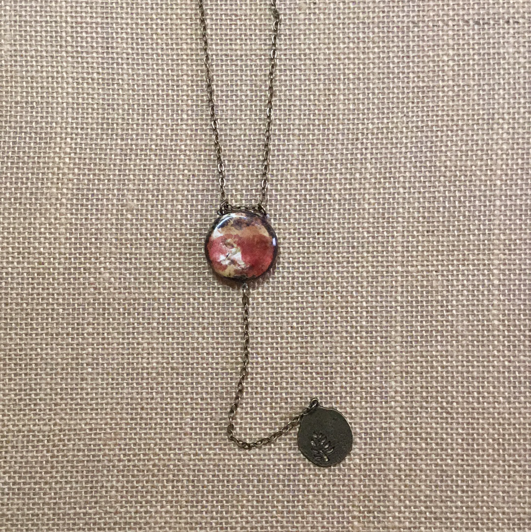 Reversible Y  Necklace SALE BarnRed/eggshell