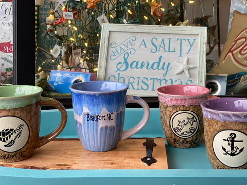 Beaufort NC Stoneware mug. Nautical design glassware