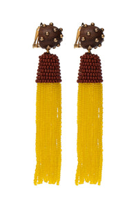 WOOD AND MUSTARD BEADS EARRING