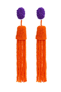 PURPLE AND ORANGE BEADS EARRINGS