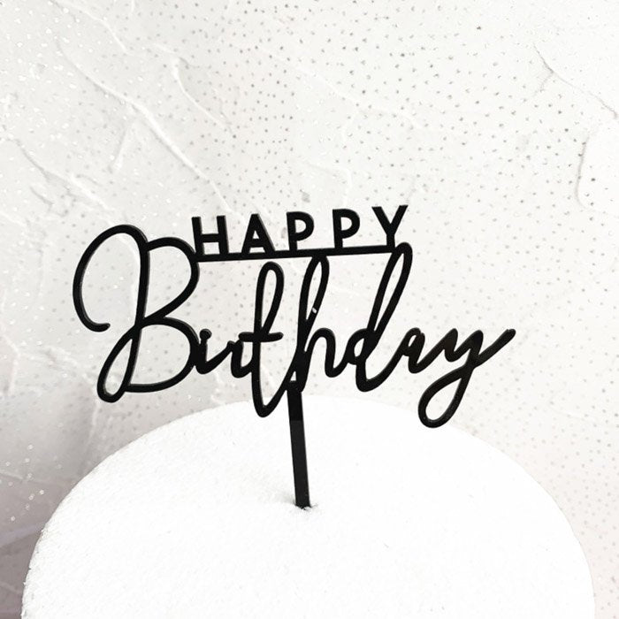 Black Acrylic Happy Birthday Cake Topper Candle Cake