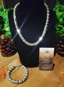 Silver Faceted Necklace and Bracelet
