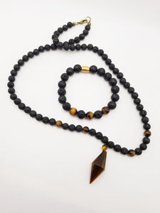 "Men's 24""  Lava stone and Tigers Eye Pendant necklace"