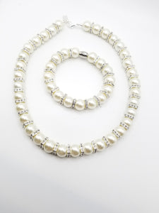 Satin Pearl Necklace and Bracelet Set