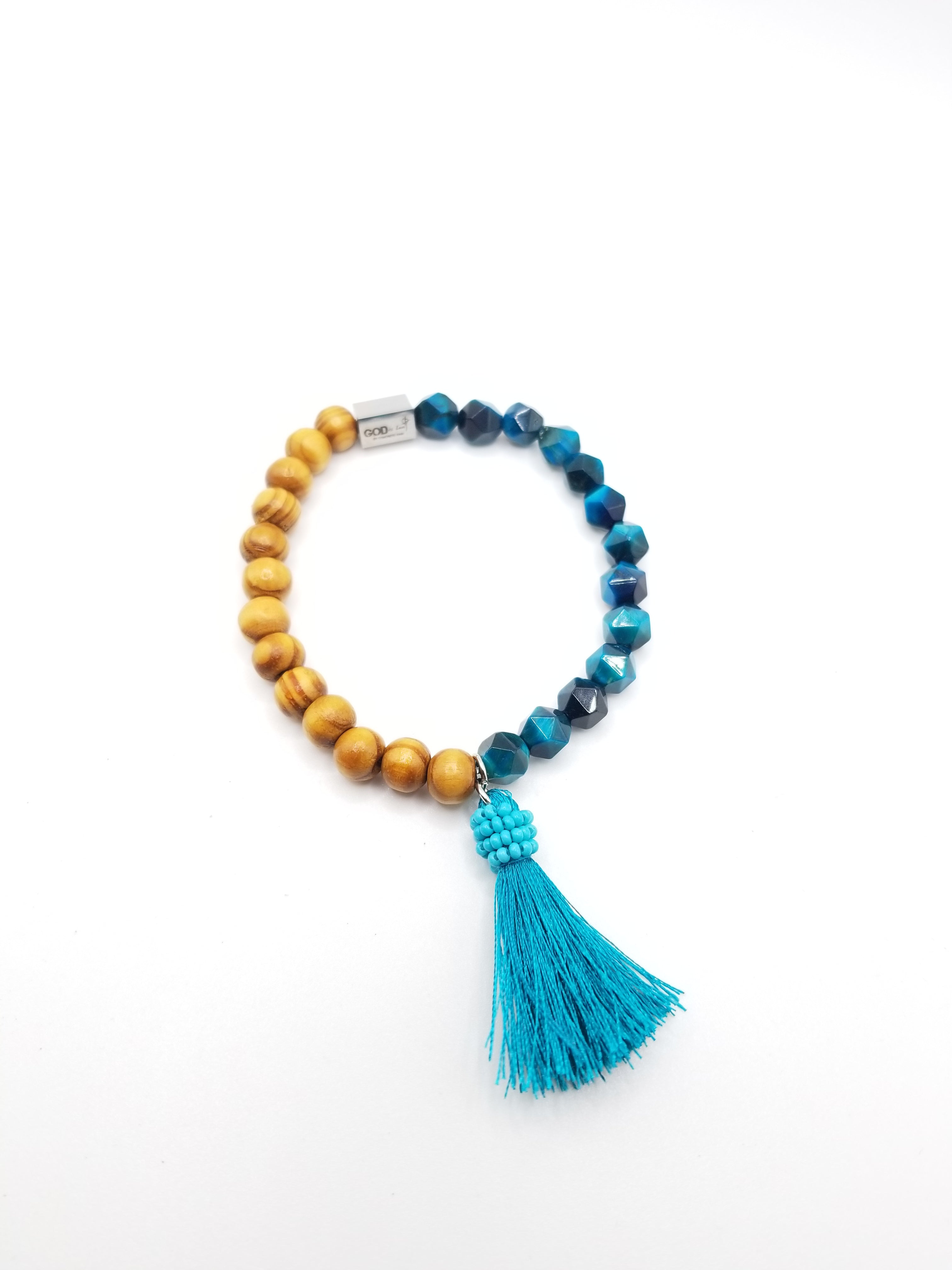 Turquoise Faceted and Wooden Beaded Bracelet