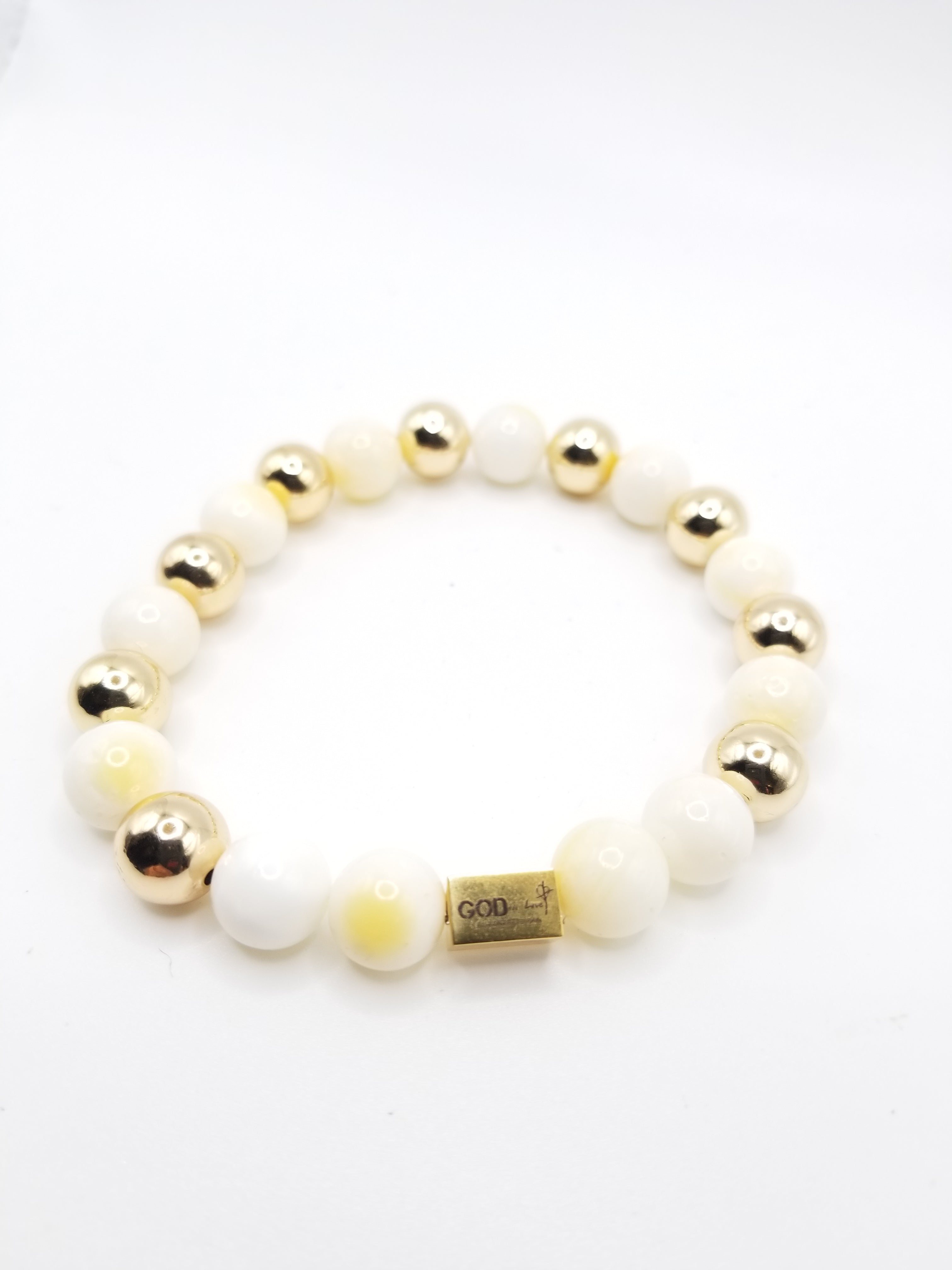 Yellow and Gold-Filled Beaded Bracelet