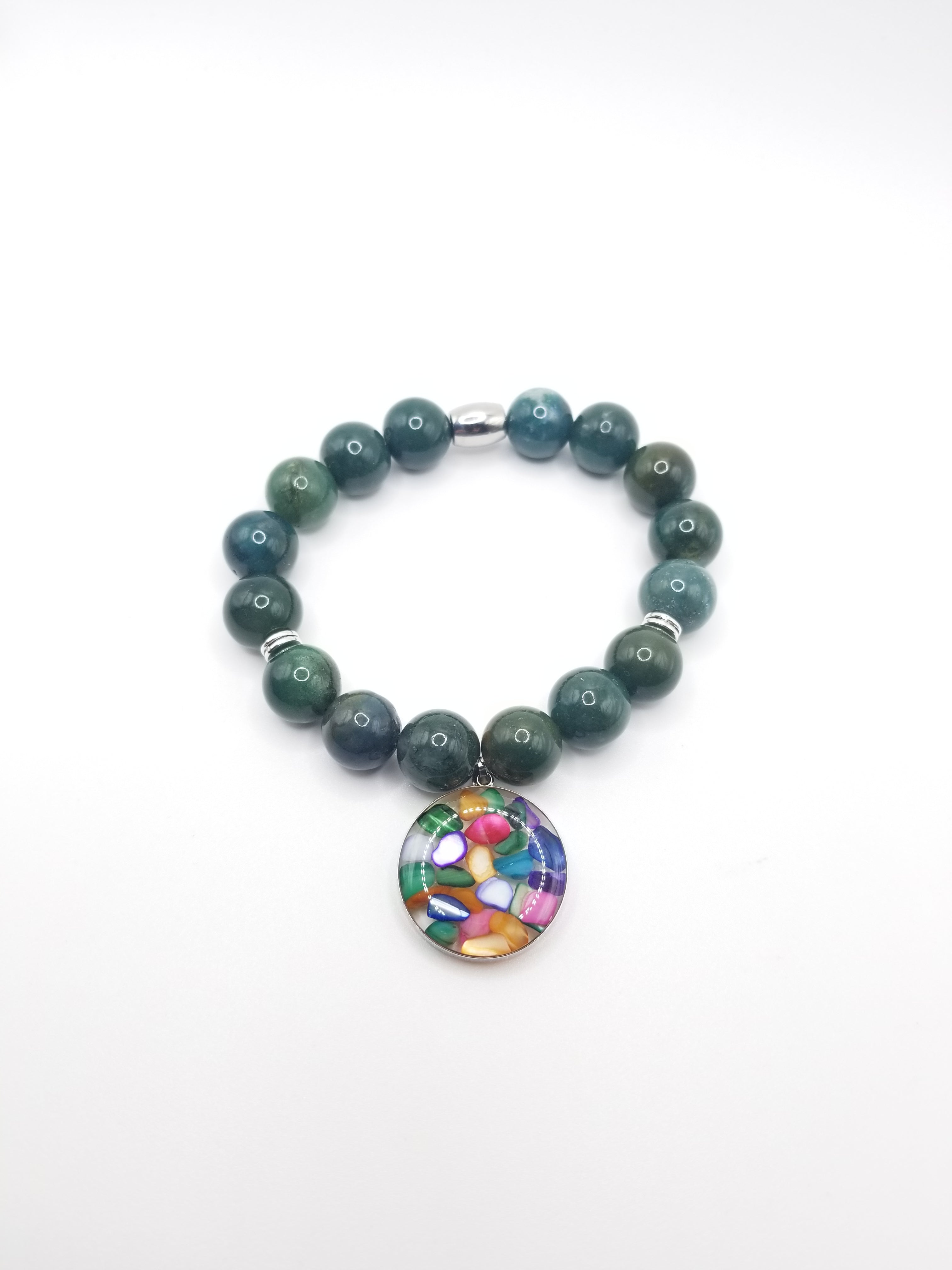 Moss Agate with Decorative Pendant Beaded Bracelet