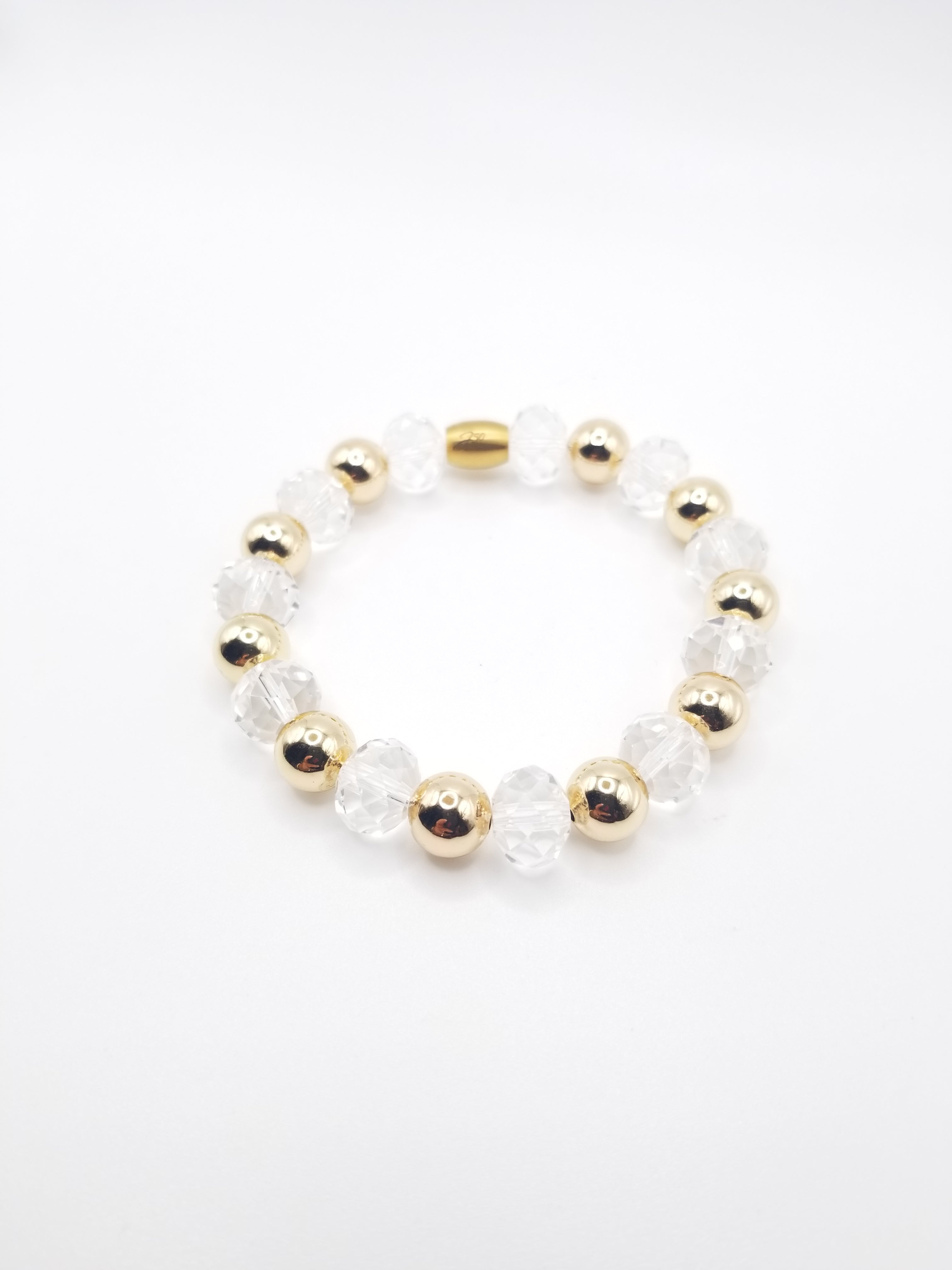 Clear Crystal and Gold-filled Beaded Bracelet