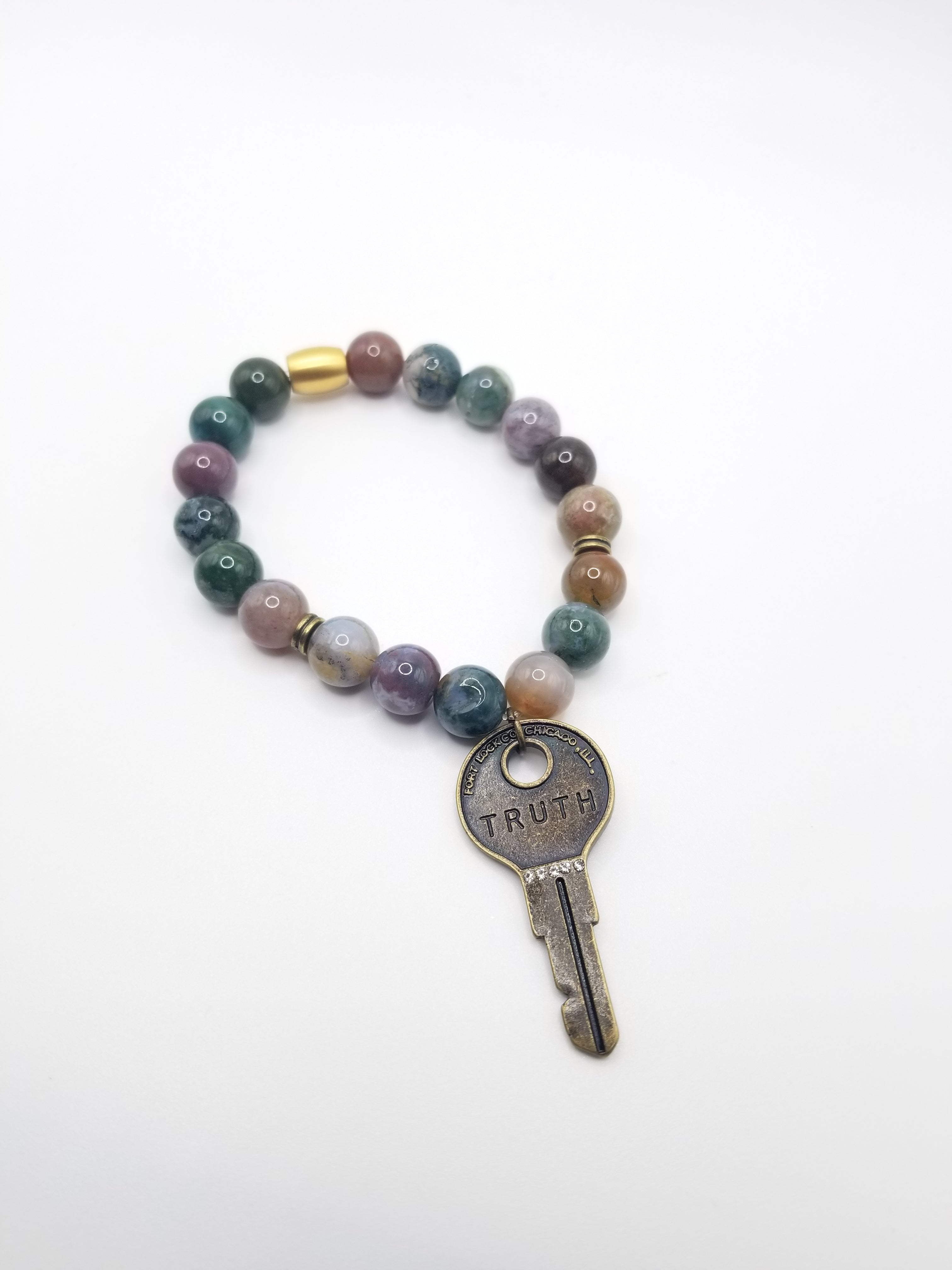 Agate Beaded Bracelet with TRUTH Key Pendant