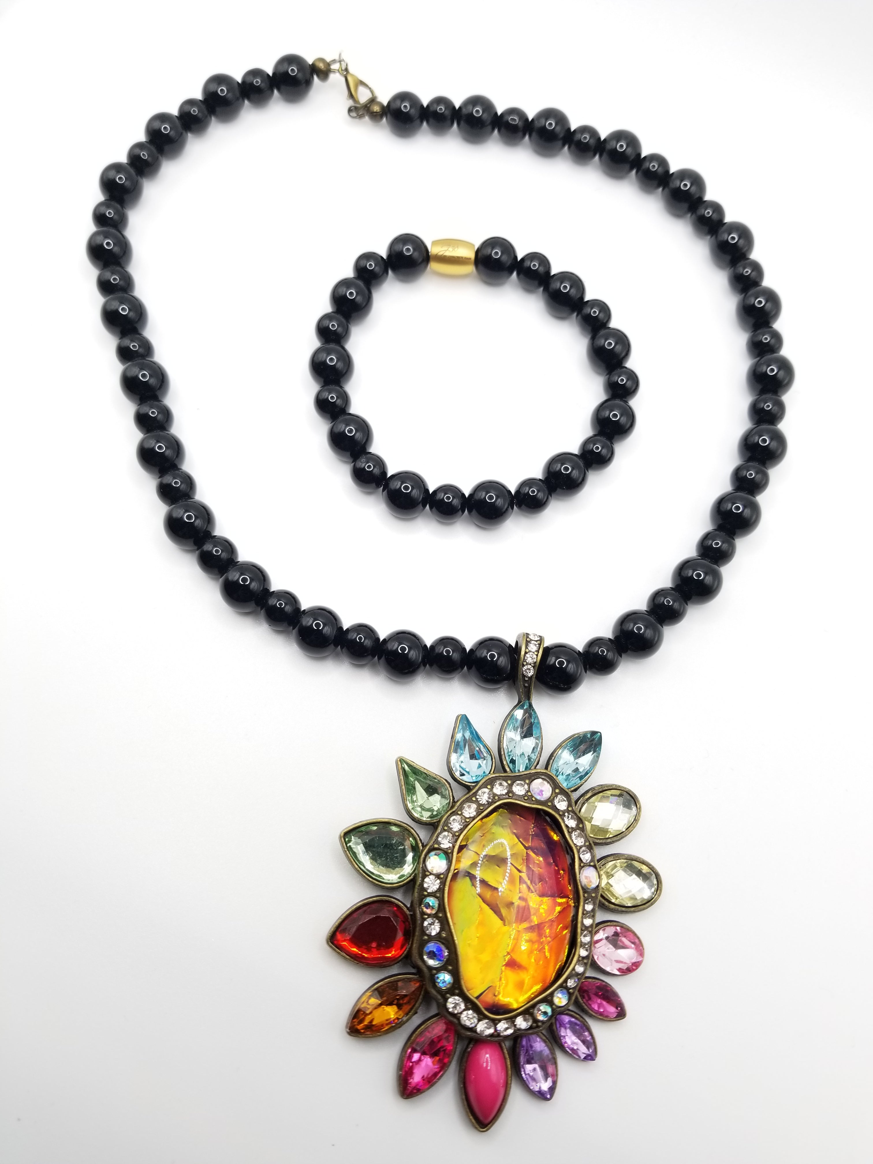 Black Onyx Necklace and Bracelet with Pendant