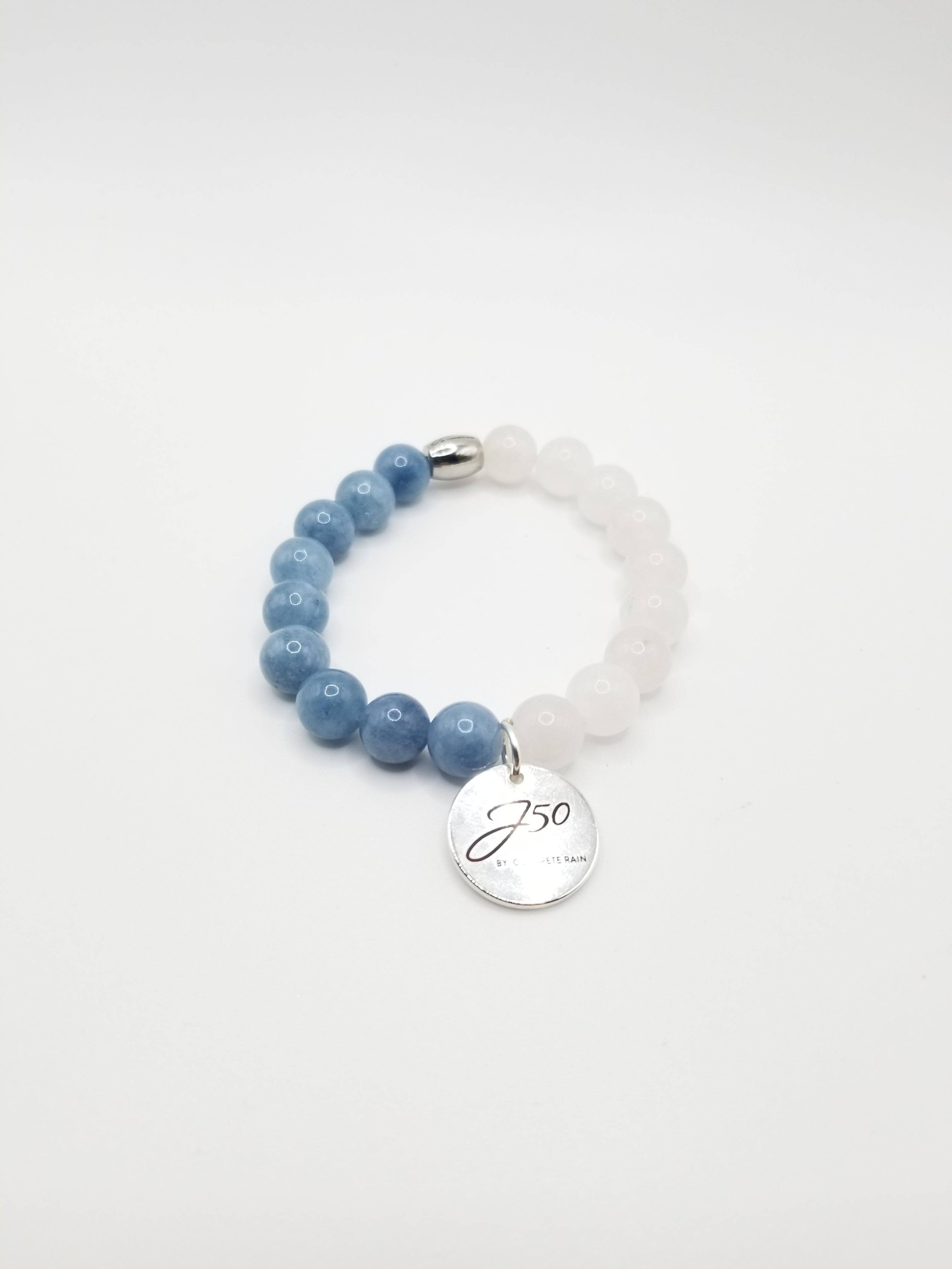 Aquamarine and White Jade Beaded Bracelet