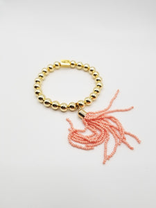 Gold-filled Beaded Bracelet with Peach Tassel