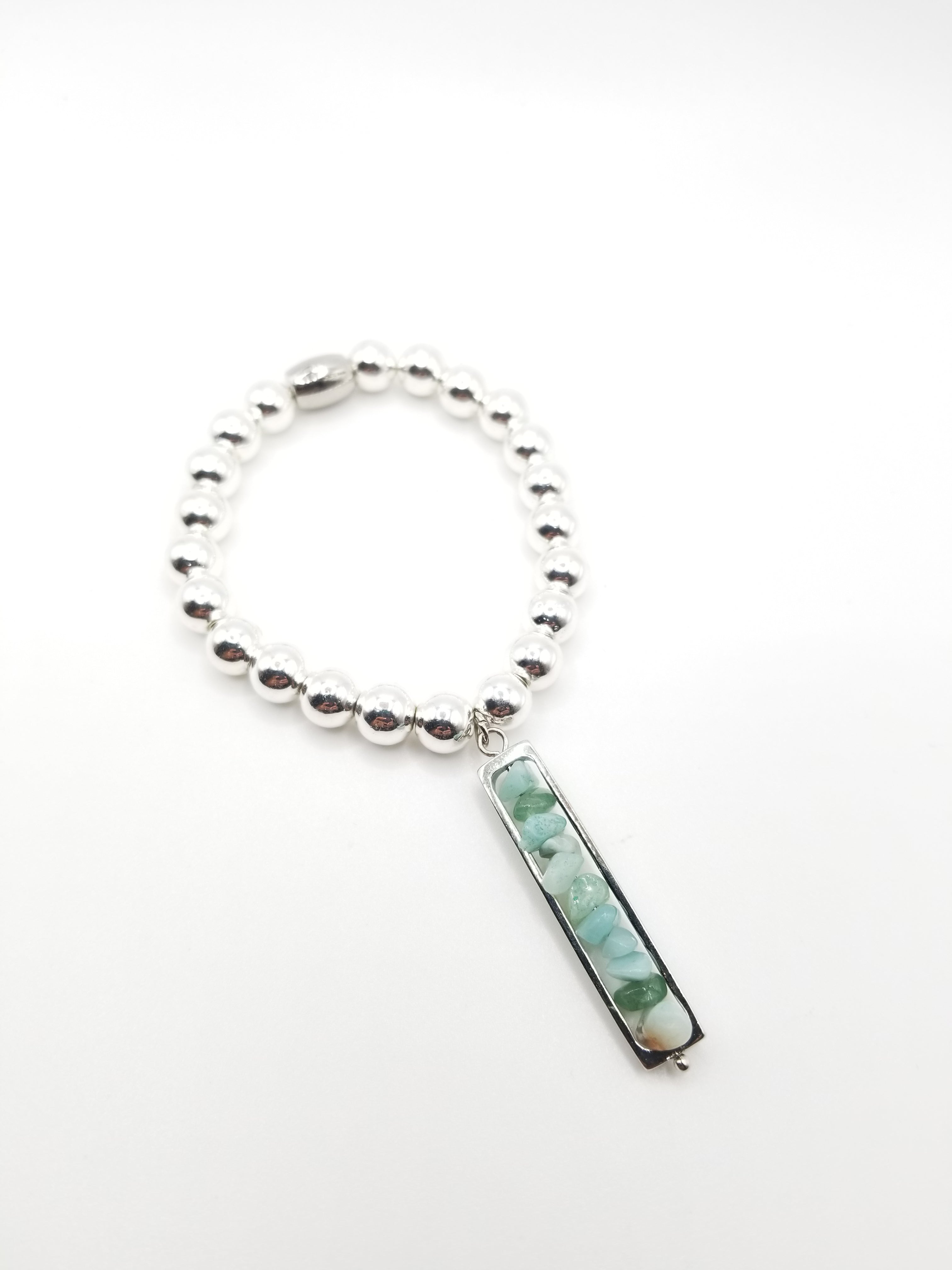 White Hematite Beaded Bracelet with Jade Chipped Pendant