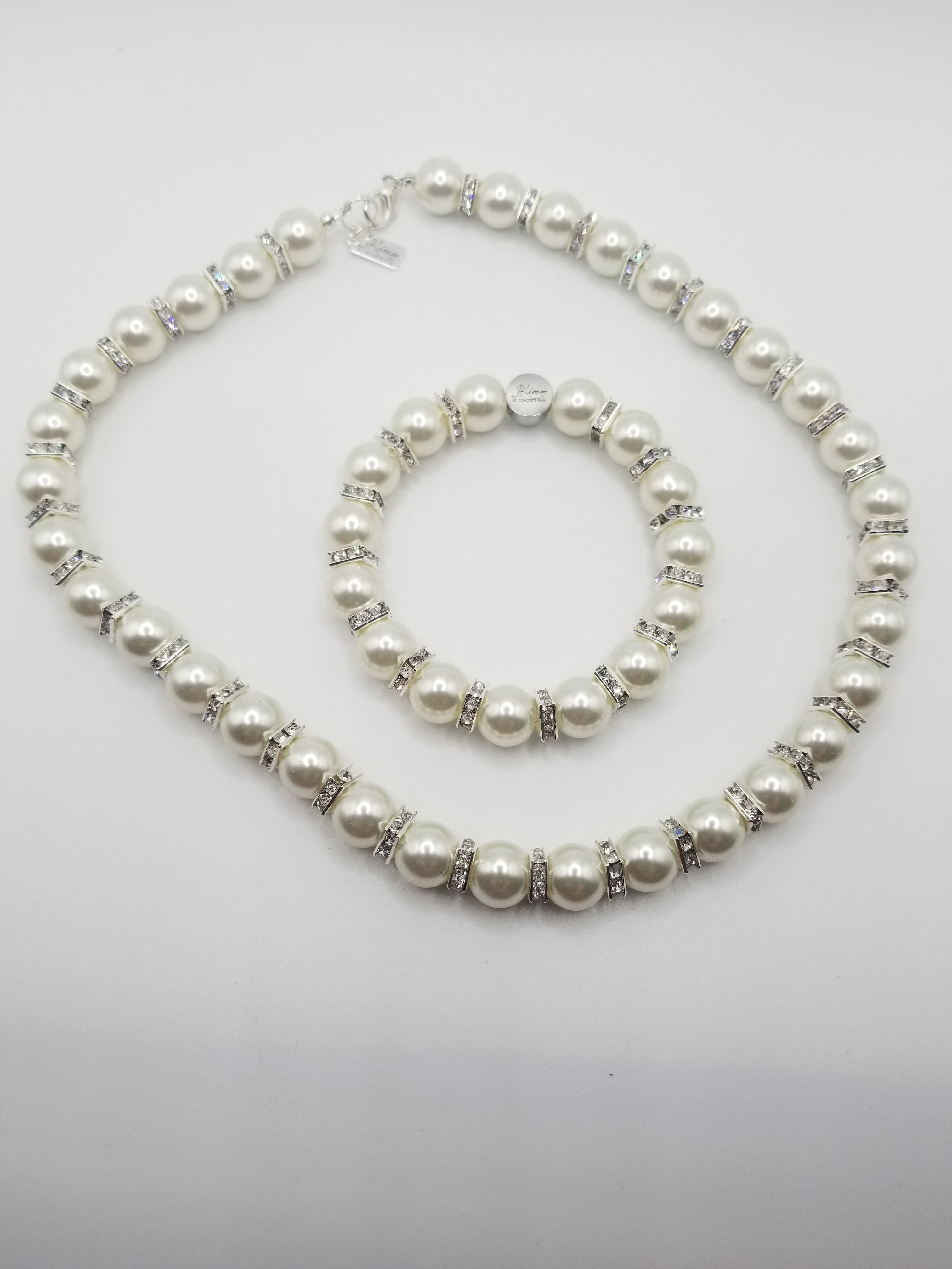Satin Pearl with Rhinestone Spacer Necklace and Bracelet Set