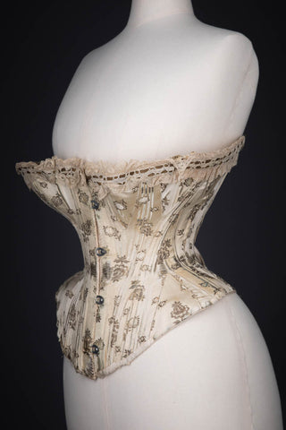 "c. 1900s Metal & Silk Brocade Corset With Ribbonslot Lace Trim Photo Print - 12x8"" Lustre Finish - PRE-ORDER, SHIPS JANUARY 2021"