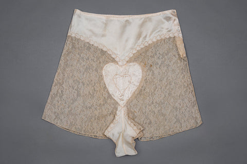 "c. 1930s Satin And Lace Heart Embroidered Tap Pants Photo Print - 12x8"" Lustre Finish - PRE-ORDER, SHIPS JANUARY 2021"