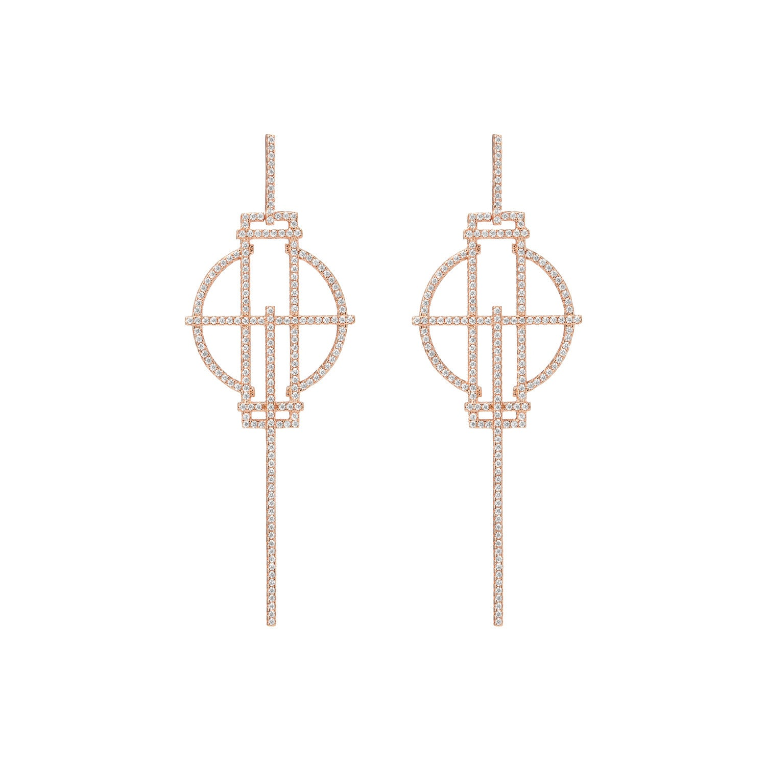 Rose Gold Stick Earrings