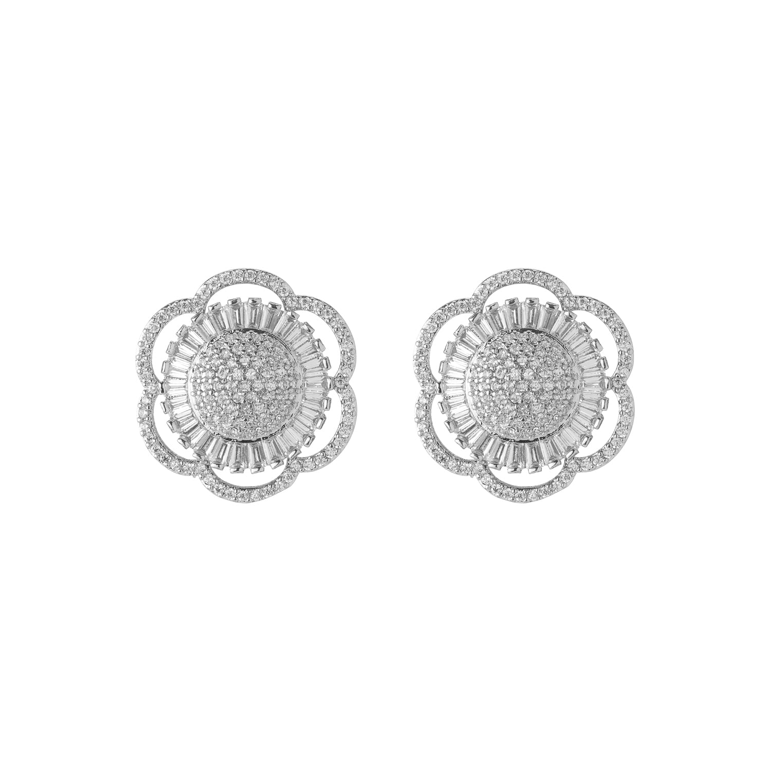 White Gold Flower Studs