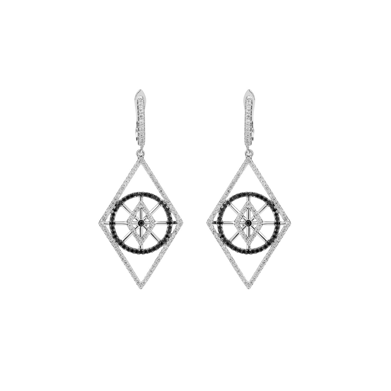 White Gold Rhombus Earrings