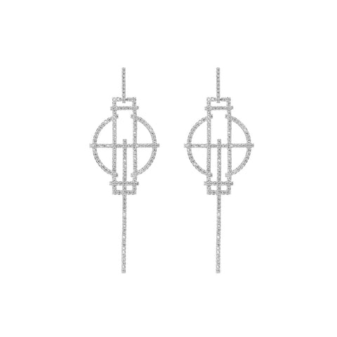 White Gold Stick Earrings