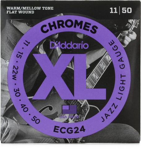 D'Addario Jazz Light, 11-50 Chromes Flat Wound Electric Guitar Strings