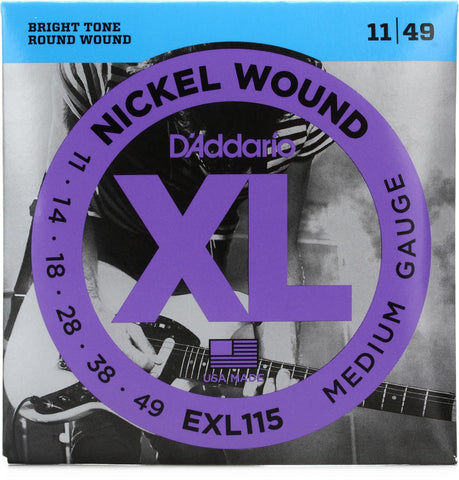 D'Addario Medium/Blues-Jazz Rock, 11-49 Nickel Wound Electric Guitar Strings