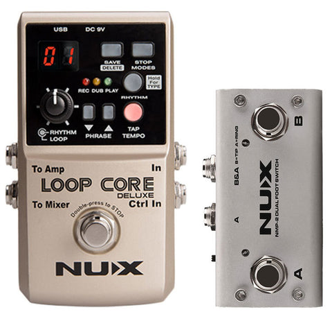 NU-X Core Stompbox Series Loop Core Deluxe Bundle Includes Loop Core Deluxe & Dual Foot Switch