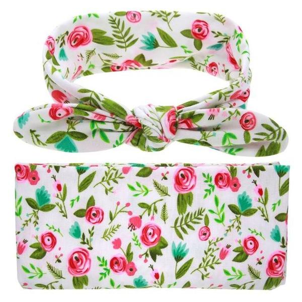 FLORALLY SWADDLE + HEADBAND SET