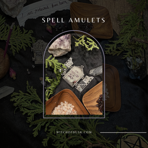 """Image says """"Spell Amulets"""" and has a picture of open locket with spell ingredients inside"""