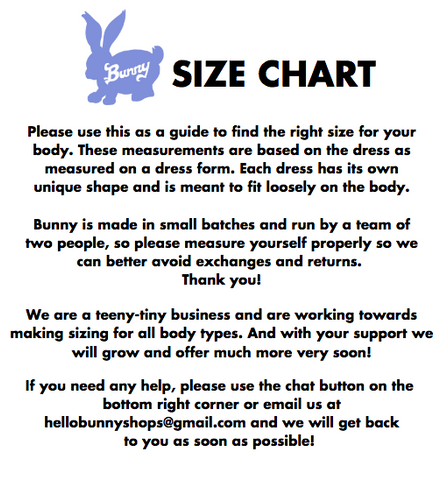 The Bunny Shops Size Chart