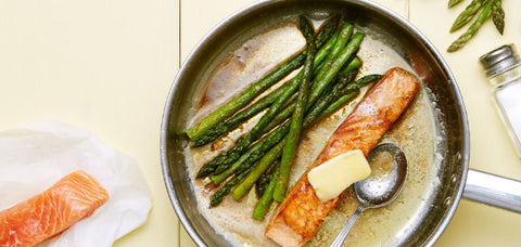 Fried Salmon with Asparagus