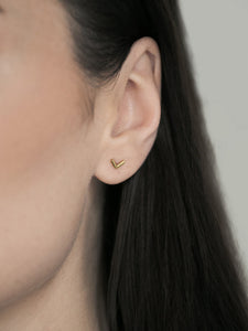 Single V Shaped Stud Earring