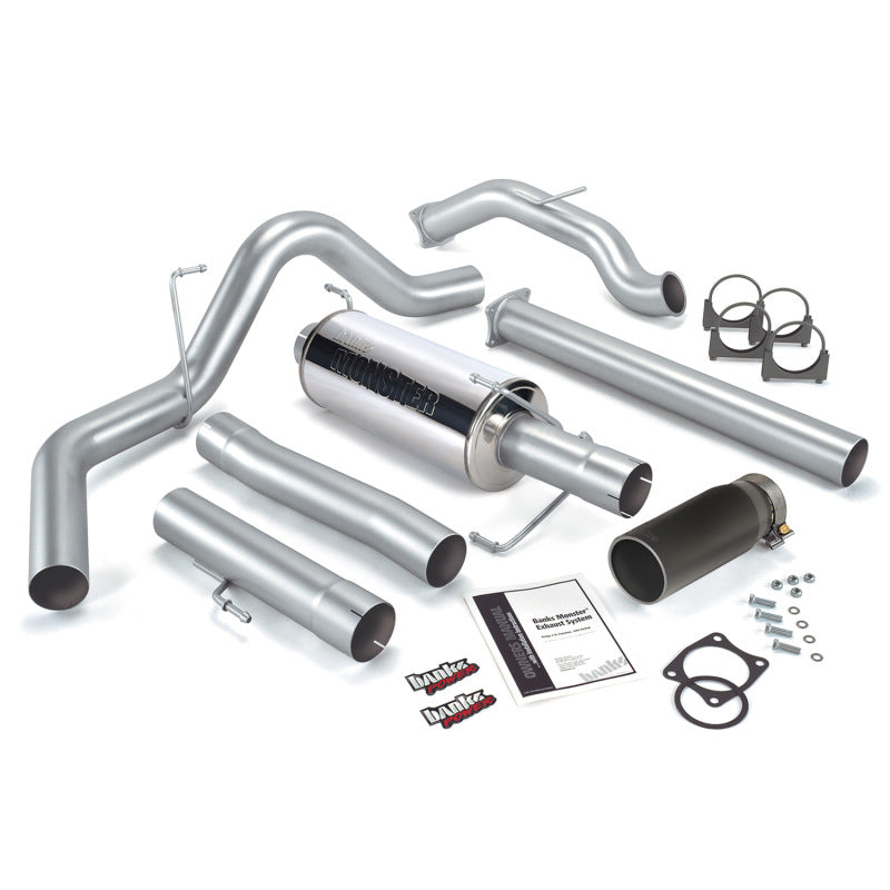 Banks Power 03-04 Dodge 5.9 SCLB/CCSB Cat Monster Exhaust System - SS Single Exhaust w/ Black Tip