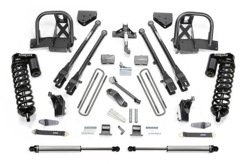 Fabtech 10-16 Ford F350/450 4WD 8 Lug 6in 4 Link System w/DL 4.0 Coilovers & Rear DL Shocks
