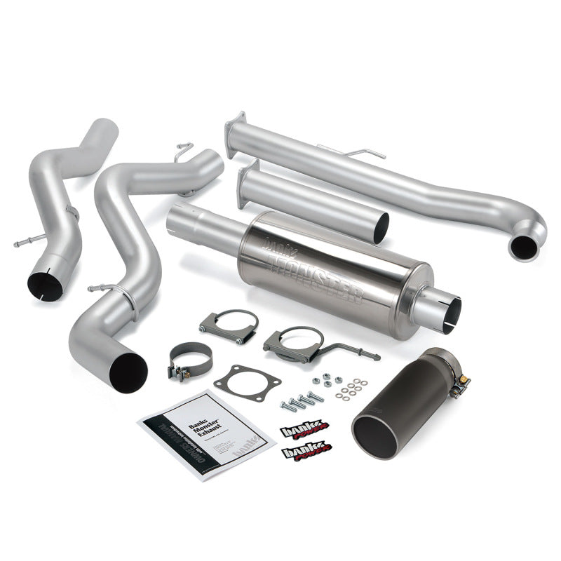 Banks Power 01-04 Chevy 6.6L SCLB Monster Exhaust System - SS Single Exhaust w/ Black Tip
