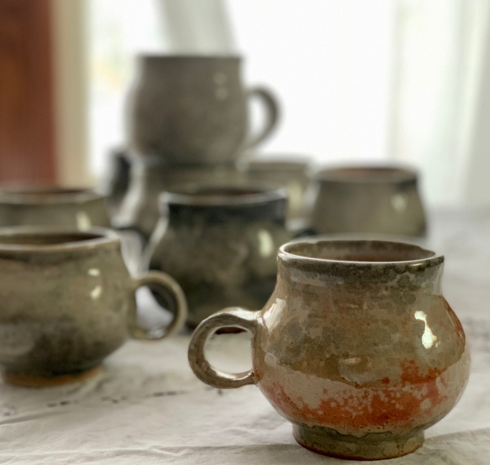 Shino glazed mugs - Curbside pick-up only