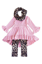 Load image into Gallery viewer, Pink leopard 3 pieces girls scarf set
