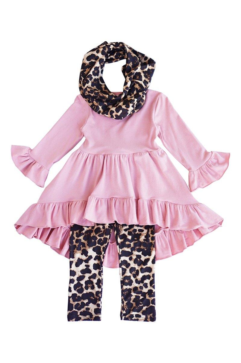 Pink leopard 3 pieces girls scarf set