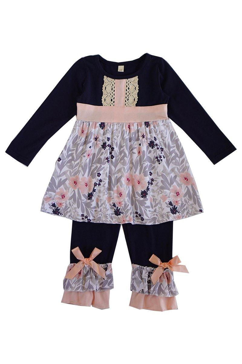 Navy pink lace girls set